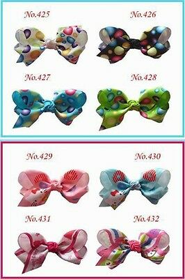 """50 BLESSING Good Girl Boutique 3.5"""" ABC Hair Bow Pin Clip Barrette #474 Hairbow"""