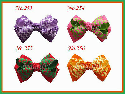 "50 BLESSING Good Girl Boutique 4"" Double  Hair Bow Clip 270 No.  Hairbow"