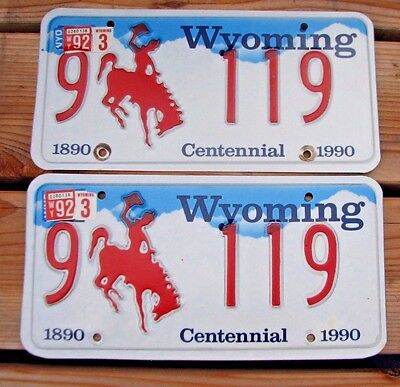 "Nice! Wyoming 1990  Matching Pair  License Plate Plates  "" 9  119 "" Wy 90 Low No"