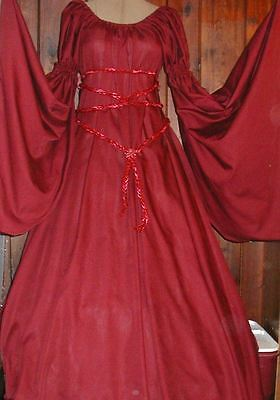 RENAISSANCE FANTASY Maroon red  CHEMISE PUFF SHOULDER & LONG SLEEVE COSTUME GOWN