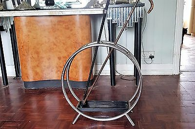 VINTAGE / RETRO ART DECO CHROME WALKING STICK / UMBRELLA CIRCULAR STAND - 1930s