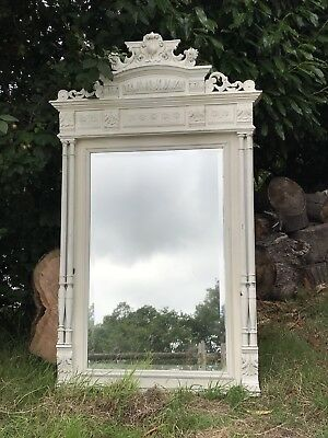 19th C Antique French Painted Bevelled Mirror 160cm x 95cm
