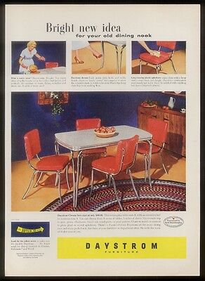 1951 Daystrom chrome & red plastic dinette dining set table chair photo print ad
