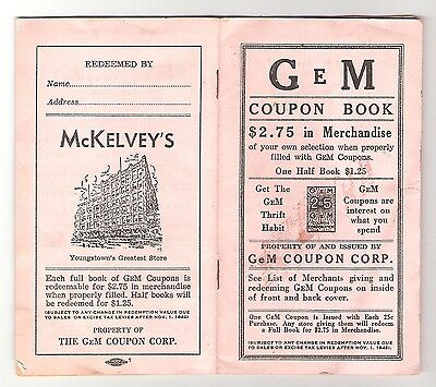 YOUNGSTOWN, OHIO - McKELVEY'S CO. GEM COUPON BOOK - FULL c1940