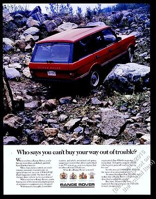 1988 Land-Rover Range Rover red SUV rocky slope photo vintage print ad
