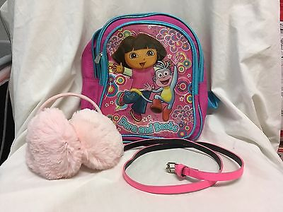 Lot of 3 little girl accessories Mini Dora Backpack, Pink Ear muffs & Pink Belt