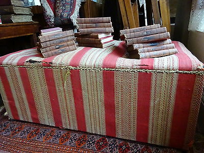 Antique Victorian Ottoman Blanket Chest Box Hand woven Textile Horsehair