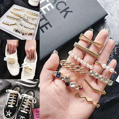 Pearl Stone Metal Shoe Laces Pin Decorate Shoe Buttons Buckles Shoe Accessories
