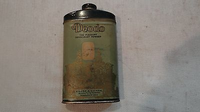 Vintage DEODORANT Toilet POWDER TIN LITHO CAN Deodo collectible Mulford product