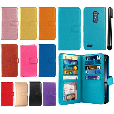 For ZTE Zmax Pro Carry Z981 All-In-One PU Leather Wallet Cover TPU Case + Pen
