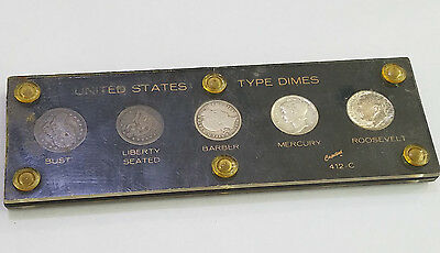 Type Set of 5 Different United States Silver Dimes 1836 - 1850