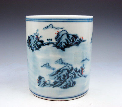 Blue&White Porcelain Mountains Scenery Painted LARGE Brush Holder Pot #07211709