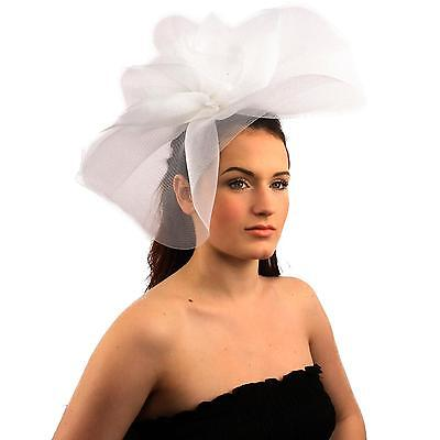 Fancy Kentucky Derby Tulle Headband Comb Fascinator Millinery Cocktail Hat White