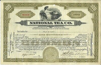 National Tea Co. 100 Shares Common Stock Grocery Chain Olive Green 1929 - 1930