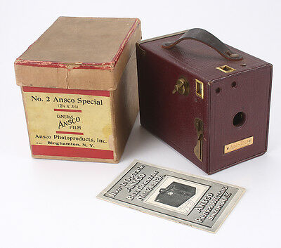 ANSCO NO.2 ANSCO SPECIAL BOX CAMERA, MAROON WITH BRASS TRIM BOXED/cks/189192