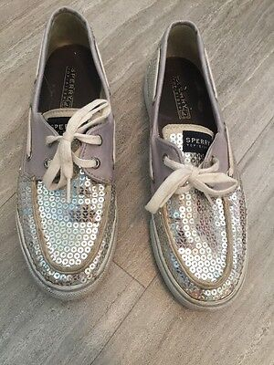 Women's Sperry Top Sider Boat Shoes 7.5 Silver Sequin Bling