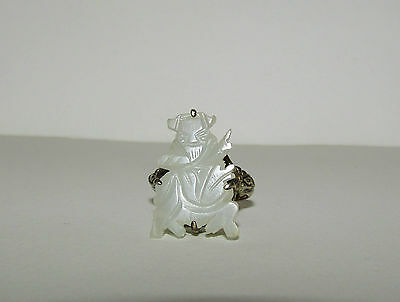 Superb, Antique, Chinese Sterling Silver Ring Of Sage Adorned By White Jade