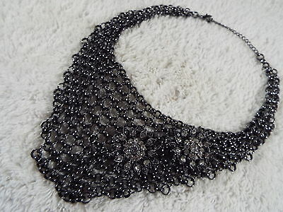 Gunmetal Chainmail Chain Mesh Rhinestone Flower Bib Scoop Necklace  (A15)