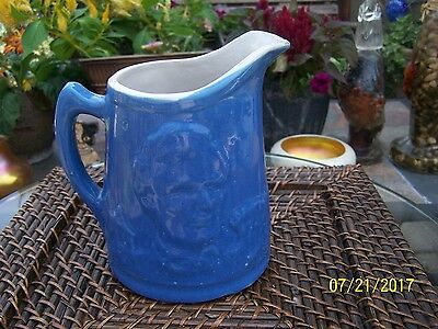 r Antique  UHL Pottery Blue Lincoln Head Log Cabin Pitchers 1 - quart