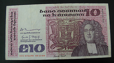 Ireland 1980 10 Pounds Note P72a