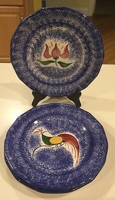 """Lot Of 3 Molly Dallas Spatterware  DINNER PLATES 9.25"""" 1 Floral 2 Rooster"""