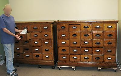 """2- Apothecary Cabinet Country Hardware Store 25 Drawer Matching LARGE Oak -59"""" W"""
