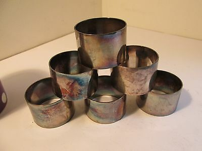 set of 6 silverplated napkin rings    maker WRH&CO