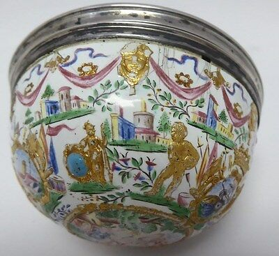 FROMERY Silver Mounted, Gold-Foiled, Painted Enamel, Vanity/Snuff Box.Circa:1730