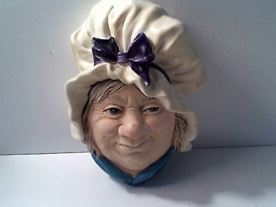 Vintage 1964 Sarah Gamp Bossons Congleton - chalk wall plaque figurine England