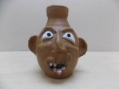 TERRY HOSEY BUFFALO SWAMP POTTERY 2007 FACE JUG 8'' H x 3 1/2'' w