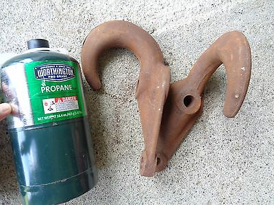 2 ANTIQUE Solid Heavy CAST IRON HOOKS for Truck? 2800