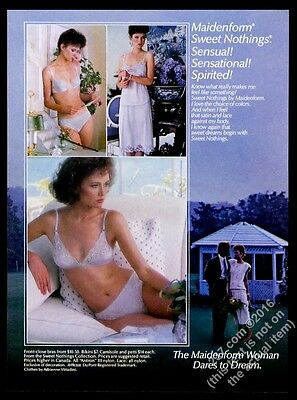 1985 Maidenform Sweet Nothings lingerie 3 women color photo bra panty print ad