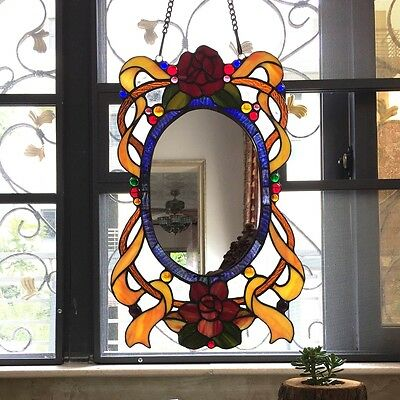 Tiffany Style Architectural English Country Stained Glass Window Panel Mirror