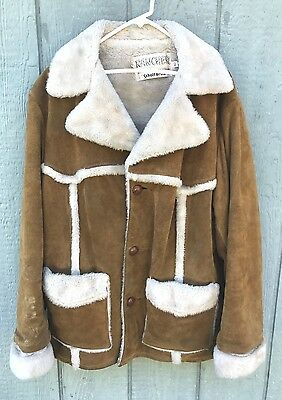 Vintage 70's SCHOTT Rancher Suede Leather Sherpa Marlboro Man Coat Jacket 42