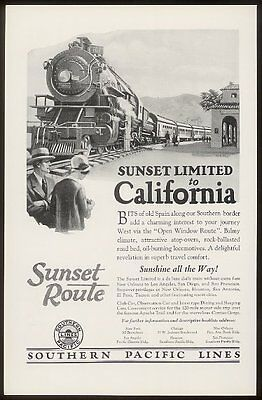 1926 Sunset Limited train to California Southern Pacific Railroad print ad
