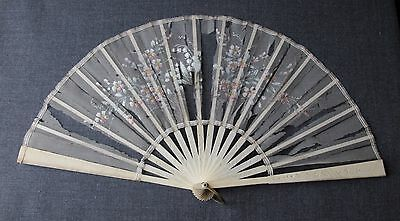 Antique Carved Bovine Bone Hand Fan     Silk Needs To Be Replaced