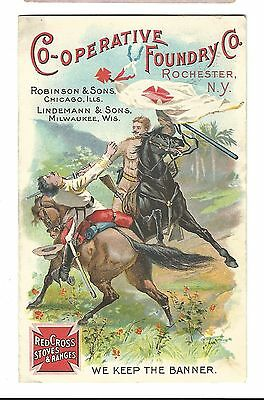 Trade Card RED CROSS Stoves Cooperative Foundry Rochester Eddy Chesterfield MA