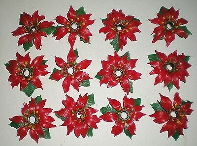 12 Vintage Christmas Poinsettia Light Cover Reflector Rings For Italian Set  -Ec