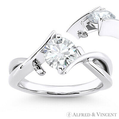 Forever Brilliant Round Cut Moissanite 14k White Gold Solitaire Engagement Ring