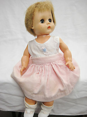 Vintage Horsman Baby Precious Doll Betty? Stuffed Vinyl Pink Corduroy Coat