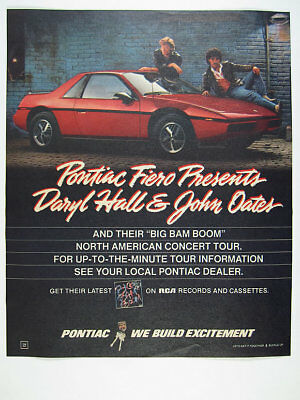 1985 Hall & Oates photo Pontiac Fiero red car vintage print Ad
