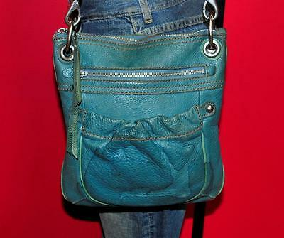 FOSSIL Teal Blue Leather Rugged Medium Messenger Crossbody Tote Purse Bag