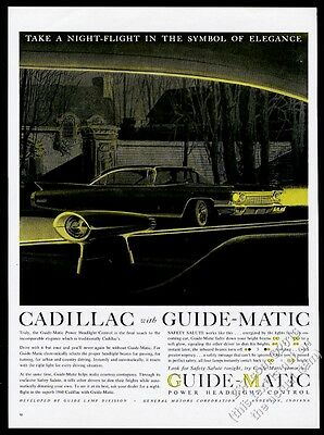1960 Cadillac sedan at night GM Guide-Matic headlight control vintage print ad