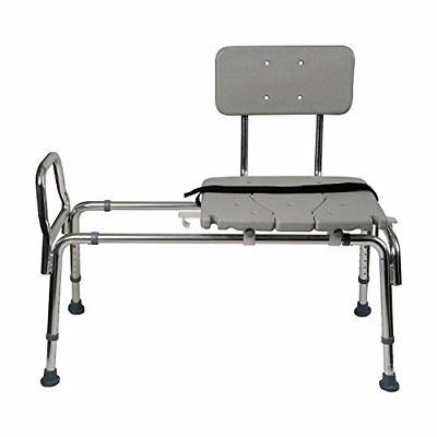Heavy-Duty Sliding Transfer Bench Shower Chair with Cut-out Seat and Adjustable