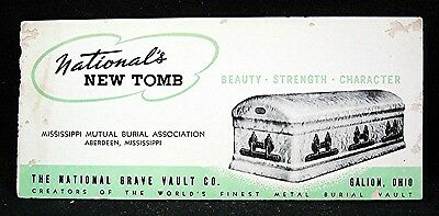New Tomb National Grave Vault Co Advertising Ink Blotter Galion Ohio Old Stock