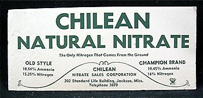 Chilean Natural Nitrate Advertising Ink Blotter NRA Logo Jackson Miss Old Stock