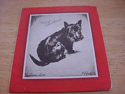 SCOTTISH TERRIER Vintage 1930s Folder CHRISTMAS Card by BF FROST:Lonely Scottie