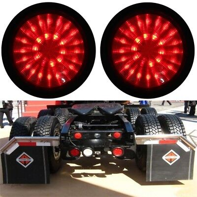2x 14cm 30 LED Round Rear Tail Stop Brake Lights Lamp Trailer Truck Caravan Red