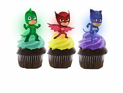 PJ Masks Edible Wafer Stand-Up Cupcake Toppers - Set of 16