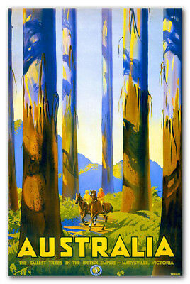 "Vintage Travel Poster Sydney Blue Mountains CANVAS ART PRINT  8""X 12"""